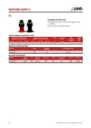 Piab suction cups U8 data sheet