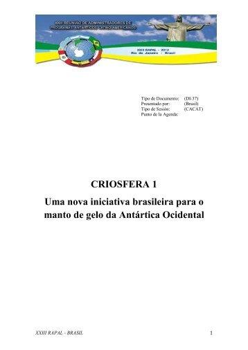 CRIOSFERA 1 Uma nova iniciativa brasileira para o manto de gelo ...