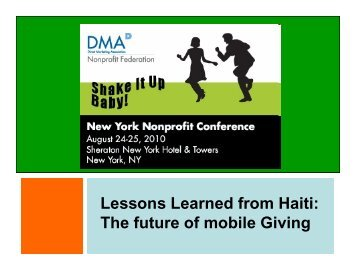 Lessons Learned from Haiti - DMA Nonprofit Federation