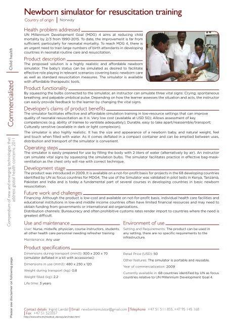 Newborn simulator for resuscitation training - World Health ...