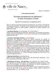 Journées européennes du patrimoine : 12 sites ... - Ville de Nancy