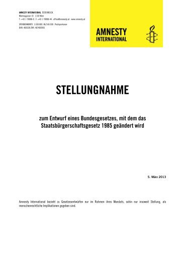 Amnesty International Stellungnahme Staatsbürgerschaftsgesetz 2013