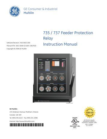 mif ii provides a new level of protection for ge digital energy 735 737 feeder protection relay instruction ge digital energy