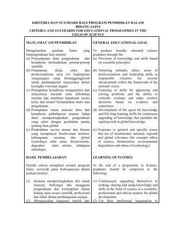 kriteria dan standard bagi program pendidikan dalam ... - DrJJ - UiTM