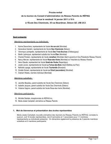 Procès-verbal de la réunion du C - Réseau des écoles publiques ...