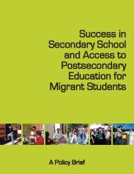National Policy Brief - Secondary Education for Migrant Youth