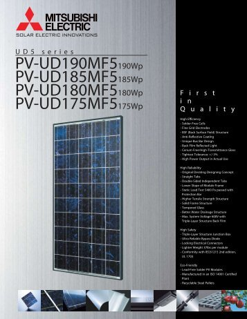 Download the Mitsubishi Solar spec sheet