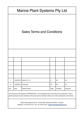 Sales terms and conditions - download here - Marine Plant Systems