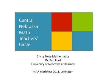 Nebraska Teachers Circle and Sticky Notes Math