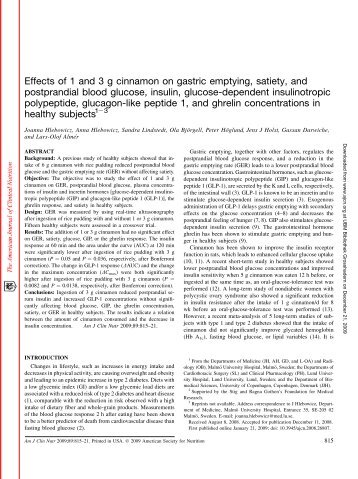 Effects of 1 and 3 g cinnamon on gastric emptying, satiety, and ...