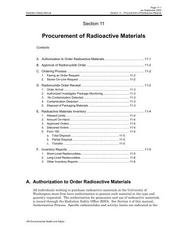 Procurement of Radioactive Materials - Environmental Health and ...
