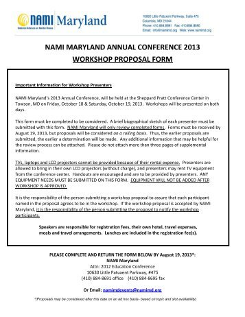 nami maryland annual conference 2013 workshop proposal form