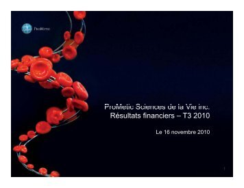 ProMetic Q3 2010 presentation - Prometic - Life Science, Inc.