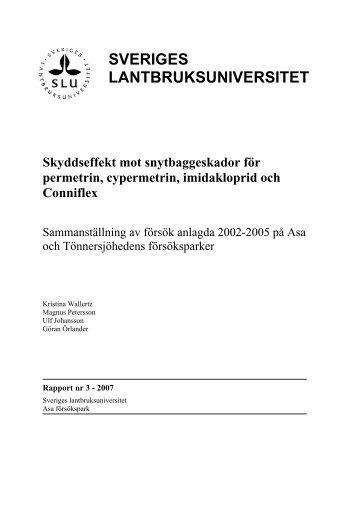 Skyddseffekt mot snytbaggeskador för permetrin, cypermetrin ... - SLU