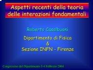 Aspetti recenti della teoria delle interazioni fondamentali - INFN