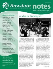 Spring 2013 - Bowdoin International Music Festival