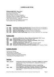 CURRICULUM VITAE - Laboratoire Parole et Langage