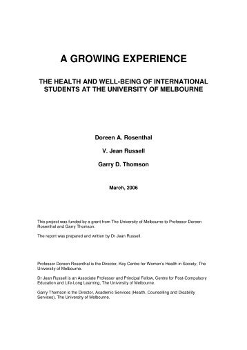 a growing experience - Student Services - University of Melbourne
