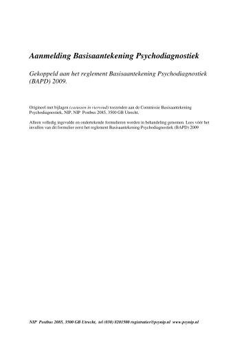 Aanmelding Basisaantekening Psychodiagnostiek - NIP