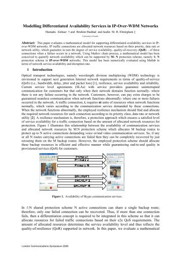 Modelling Differentiated Availability Services in IP-Over-WDM ...