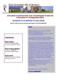 Programme et Inscription Atelier IRM en Otoneurologie ... - SNORL