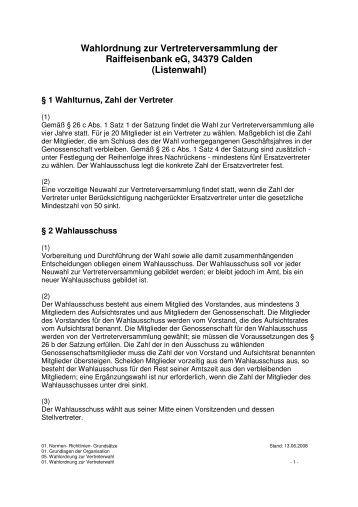 Wahlordnung zur Vertreterversammlung der Raiffeisenbank eG
