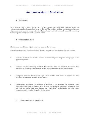 An Introduction to Mediation (PDF) - Blaney McMurtry LLP