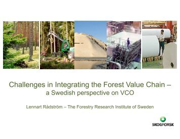Challenges in Integrating the Forest Value Chain – - VCO