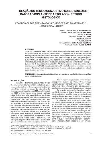 REAÇÃO DO TECIDO CONJUNTIVO SUBCUTÂNEO - ResearchGate