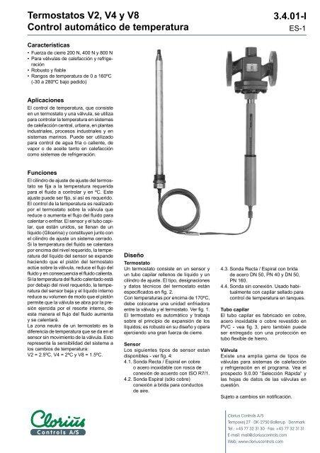Termostatos V2,V4 y V8 control automático de ... - Clorius Controls
