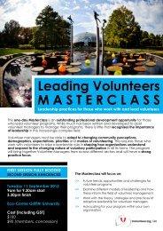 Leading Volunteers MASTERCLASS - Volunteering Qld