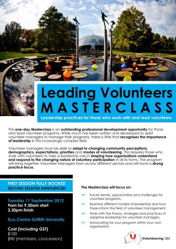 Leading Volunteers MASTERCLASS - Volunteering Qld