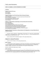 Title 28, CFR Part 20, Criminal Justice Information Systems