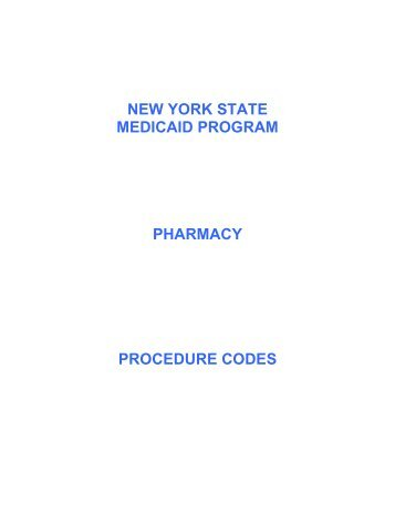 Pharmacy Procedure Codes - eMedNY