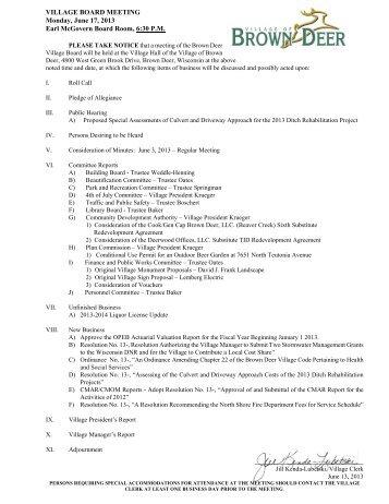 VILLAGE BOARD MEETING Monday, June 17, 2013 Earl McGovern Board ...