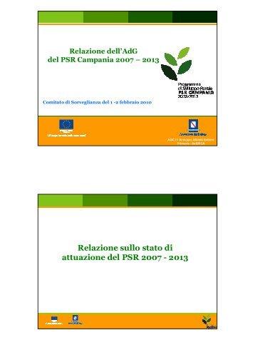Relazione sullo stato di attuazione del PSR 2007 - 2013 - Regione ...