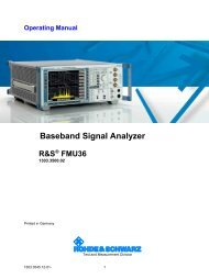R&S FMU Operating Manual - Rohde & Schwarz