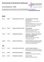 Kirchenmusik im Kirchenkreis Gelnhausen Konzertkalender I 2009 Juli