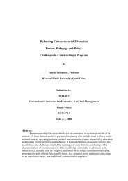 Balancing Entrepreneurial Education - Person, Pedagogy and Policy