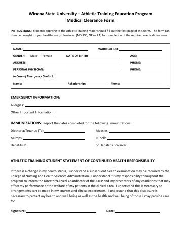 Athletic Training Education Program Medical Clearance Form