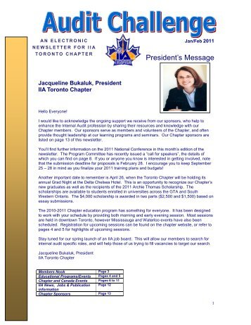 Jan & Feb 2011 Audit Challenge Newsletter - The Institute of Internal ...