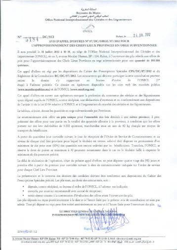 Avis - Office National interprofessionnel des céréales et des ...