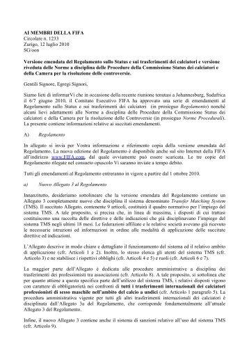 FIFA - Circolare n. 1233_02 - Diritto Calcistico