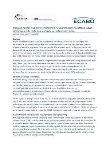 Plan van aanpak BPV, versie 17 mei 2010 - MBO