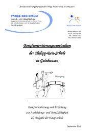 Berufsorientierungscurriculum der Philipp-Reis-Schule in Gelnhausen
