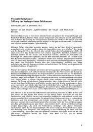 Pressemitteilung der Stiftung der Kreissparkasse Gelnhausen