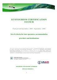 ECOTOURISM CERTIFICATION SYSTEM