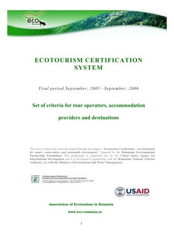 ECOTOURISM CERTIFICATION SYSTEM