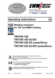 Operating instructions - Walsh Engineering Supplies