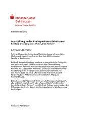 Ausstellung in der Kreissparkasse Gelnhausen